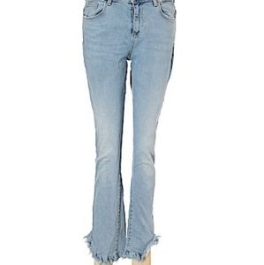 Zara Basic Z1975 Denim Flared Raw Hem Jeans Size 4